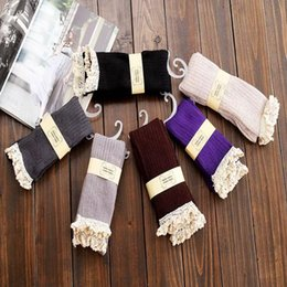 Wholesale High Quality Boot Socks Knee High Socks Women Lace Boot Socks with Frilly Socks