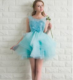 Wholesale Light Aqua Short Prom Dress Lace Top Corset Back Puffy Tulle Skirt Teens Short Prom Dresses Homecoming Customized Size