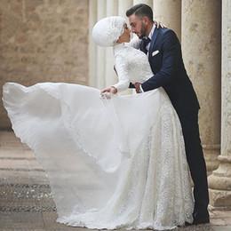 Wholesale Elegant Lace Vestidos de novia musulmanes una línea de vestidos de novia blanco árabe vestido de novia de manga larga de alto collar no Hijab por encargo
