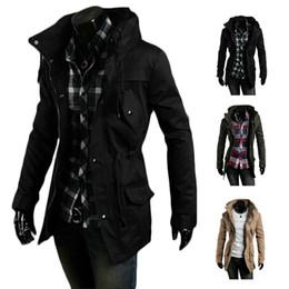 S5Q Hommes Vintage Manteau militaire Long Slim Trench Vestes chaud hiver Parka Hoodie AAADXK