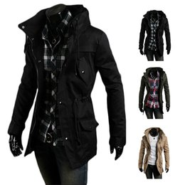 Wholesale S5Q Men Vintage Military Coat Long Slim Trench Jackets Warm Winter Parka Hoodie AAADXK