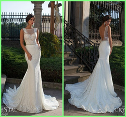Wholesale 2015 Wedding Dresses Gorgeous Stunning Generous Sexy Scoop Sheer Neck Sash Crystal Lace Court Train Mermaid Backless