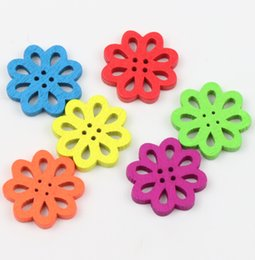 Wholesale Random Mixed Open Flower Shape Wood Wooden Sewing Buttons mm Knopf Bouton