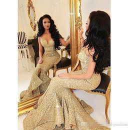 Wholesale Custom Made Stunning Gold Sequined Evening Prom Dresses V Neck Mermaid Front Slit Ruffles Nigerian Pageant Party Gown Vestidos de Festa