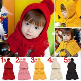 Wholesale Bala_bala Fashion Winter Children Boys and Girls Scarves Warm Ring Cap Accessories Knitting Hooded Ring Wraps Kids Winter Hats B