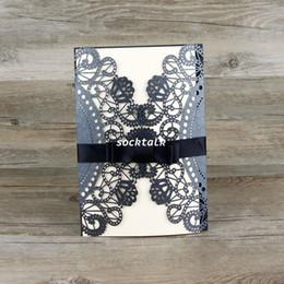 Wholesale Elegant Black Hollow Flowers Wedding Invitation Card with Envelope Seal blank inside card