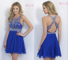 Wholesale 2015 Royal Blue Chiffon Formal Short Dresses Crew Neck Two Pieces Homecoming Dress Short Sexy Backless With Crystals Cocktial Party Gowns