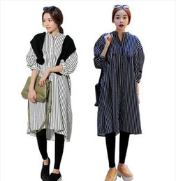 Wholesale 2015 spring new woman clothing stylenanda bf style simple vertical stripes dress casual shirt mandarin collar loose blouses