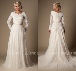 Wholesale 2016 Informal Long A Line Lace Tulle Modest Temple Wedding Dresses Long Sleeves V Neck Sheer Sleeves Trains Buttons Back Bridal Gown MDWD1