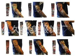 Wholesale Nylon Elastic Fake Tattoo Sleeves Designs Cool Anti UV Arm Stockings Tattoo Wears Fishing Driving Sleeves
