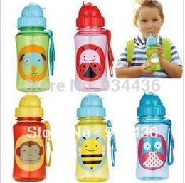 Alta Qualidade 100% garrafa de água copos de bebê do jardim zoológico tritan bebê cartoon Straw Bottle BPA LIVRE NO PVC NO ftalato garrafa de esportes
