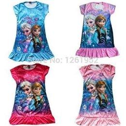 Wholesale Brand Frozen Girls Summer Dress Frozen Costume Princess Dress Sequined Cosplay Costume Anna Elsa Lace Baby Dress Kids Party Wear