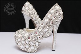 Wholesale 2015 Rhinstone Bridal Shoes Wedding Silver High Heels Sparkle Crystal Wedding Shoes Elegant Prom Evening Shoes