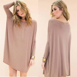 Wholesale 2015 new fashion Women s Loose Tunic Tops Long Sleeve Shirt Casual Blouse blue purple white brown