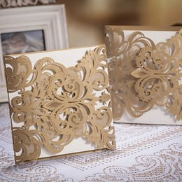 Wholesale Graceful Golden European Wedding Invitations Flower Hollow Embossing Carving Paper Folders Style Pieces At Least