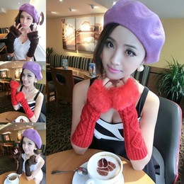 Wholesale Women Girl Knitting Cotton Long Arm Gloves Winter Warm Faux Fur Knitted Arm Mitten Fingerless Gloves DMF