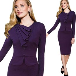 Wholesale Purple Blue European Office Lady Slim Dress Fake Two Pieces Set Full Sleeve Knee Length Plus Size Dress Elegant Women Bodycon Clothes LY051
