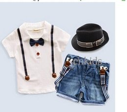 Wholesale Summer Boy Clothing Set Short Sleeve With Bow Tie Shirt And Suspender Jeans Children Clothes Suits Baby Wear Hot Sale CS41223