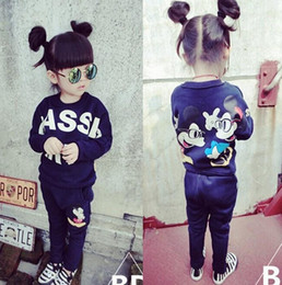Wholesale Lovely Spring Kids Clothes Cartoon Mickey Minnie Sweatshirt Top Pants Sports Suit Children Girls Sport Sets Kids Clothes Outfits Suit