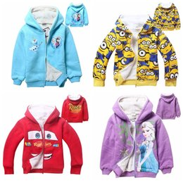 Wholesale 2015 big kids thick fleece winter coat boys cartoon minions jacket Boys girls Clothes despicable me velvet chaqueta jaqueta