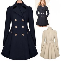 Wholesale Fall Winter Clothes for Women New European and American Commuter Slim Lapel Neck Double Breasted Ruffle Pleated Trench Coats for Women