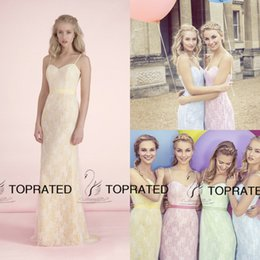 Wholesale 2015 New Bridesmaid Dresses Formal Wedding Guest Gown With A Line Spaghetti Straps Sexy Backless Lime Coral Lace Long Cheap Custom Made