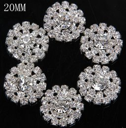 Wholesale 20MM Metal Button Decorative Clear Rhinestones Silver Gold Color Metal Button Flower Cluster Hair Wedding Embellishment