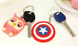 Wholesale New Styles D Despicable Me Captain America Shield Hello kitty Monkey PVC silicone keychain car pendant doll gift for men and women