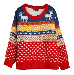 Wholesale sweaters women fashion dimond plaid christmas deer reindeer sweater long sleeve pullover sweaters YC6284MY