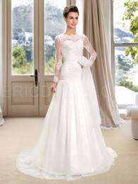 Wholesale NWD17 de moda de la iglesia árabe musulmán del vestido de boda de la manga larga del cordón de la novia más los vestidos por encargo del vestido nupcial del tamaño