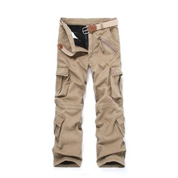 Wholesale 2014 winter new Korean version of the multi pocket overalls men plus thick velvet trousers loose overalls outdoor recreation