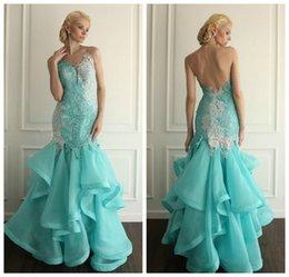 Wholesale Newest Design White and Aqua Blue Prom Dresses Pageant Dress Lace Mermaid Long Open Back Organza Ruffled Evening Gowns Vestido de festa