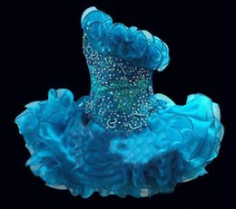 2015 Glitz Cupcake Organza Girls Pageant Dresses Sparkle One Shoulder  Beading Crystal Ruffles Short Kids Formal Party Prom Gowns BO6562 8879d14eba53