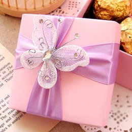Wholesale 7 Colors Butterfly Flower Wedding Candy Boxes Paper Favor Boxes Wedding Favor Box Chocolate Gift box Candy Box