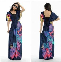 Wholesale plus size summer maxi dress xl xl xl Fashion Womens sexy backless deep V neck Floral Printed Bohemian boho Maxi Long Beach Dresses