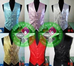 Wholesale Lentejuelas traje de la escama de los nuevos hombres del chaleco del chaleco de moda del novio de la boda chaleco del ajustado de Chalecos vestido de fiesta vestido de novia más tamaño