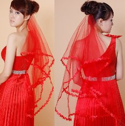 Wholesale Excellent Quality White Red Bridal Veils Cheap Meter One Layer Lace Flowing Fall Wedding Accessories