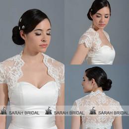 Wholesale Real Sample Wedding Bolero Lace Wedding Capes Coats Bridal Shawl Shrug Ivory Shrug Short Sleeve Lace Jackets Wraps Custom Made PJ024