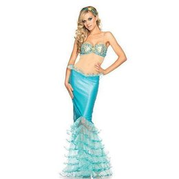 Wholesale 2015 new style Halloween Party Cosplay Anime Costume Role Playing Blue Mermaid Bra Skirt Costume Sexy Clothing VLS6828