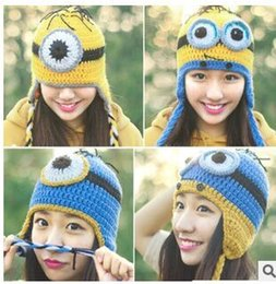 Wholesale Despicable me crochet hats children cartoon minions Costume Handmade cap Crochet Knitted Hat NEW Despicable Me knit ear hat