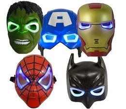 200pcs 2015 новый светодиодной вспышкой Mask Дети Halloween маски Светящиеся освещение Маска Мстители Халк Капитан Америка Бэтмен Человек-паук Ironman партии