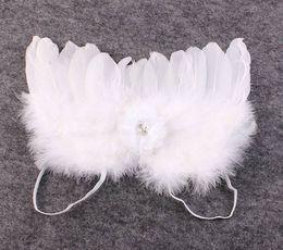 Wholesale fotografía recién nacido apoyos encaje bandas para la cabeza del bebé de la flor de la tela alas de ángel hinchados bebé traje ala de la mariposa blanca de plumas de hadas traje de regalo