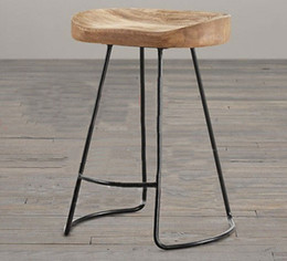 Fashion stool The village of retro furnitureVintage metal bar chairanti rust treatment mercial Bar furniture sets wood bar stool