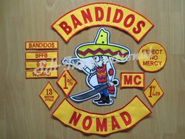 Wholesale NOMAD Embroidery Twill Motorcycle Club Biker Patches for Jacket Back Full Size and Full Set BANDIDOS MC Support Customized YR