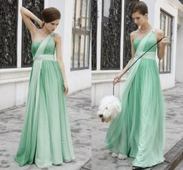 Wholesale One Shoulder Prom Dresses Chiffon Beads Ruffles Cheap Full Length Formal Gowns Crystal Sequins Sexy Evening Gowns Women Clothes Spring ZC