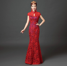 Wholesale Top Quality short sleeve Lace Evening Dress Party Birthday Dress Lace cheongsam Clothing chinese traditional Dresses QP100