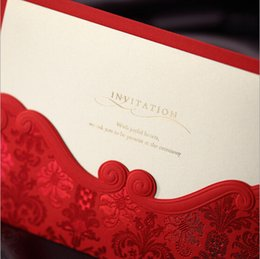 Wholesale 2015 Vintage Red Emboss Laser Cut Wedding Invitations Cards Free Personalized Customized Printing Flowers Paper Sets Custom Design