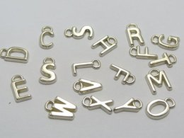 Wholesale 200 Assorted Silver Tone Metallic Acrylic Alphabet Letter Charm Pendants