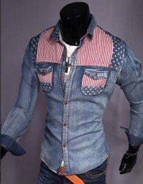 Wholesale new shirt men long sleeve men shirt slim fit splicing design men s fashion leisure denim shirt CC808Y