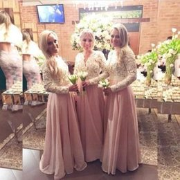 Wholesale Sweep Train Long Arabic Muslim Prom Evening Dresses Chiffon Skirt Lace Bodice V Neck A Line Long Bridesmaid Dresses with Full Sleeves